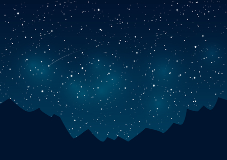 blue stars: Mountains silhouettes on starry sky background Illustration