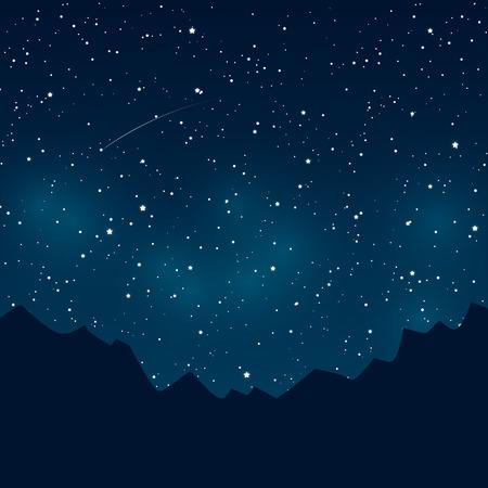 Bergen silhouetten op sterrenhemel achtergrond