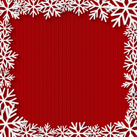 Christmas background with paper snowflakes frame Illustration