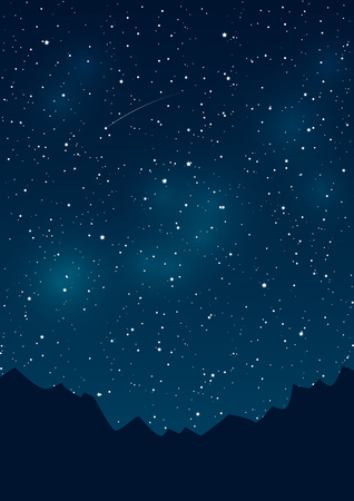 sky background: Mountains silhouettes on starry sky background Illustration
