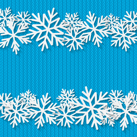 knitted background: Christmas knitted background with paper snowflakes Illustration
