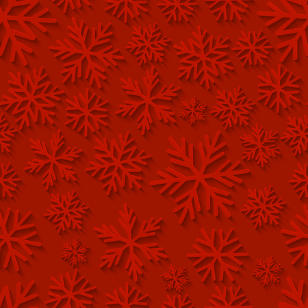 red wallpaper: Seamless pattern with paper snowflakes