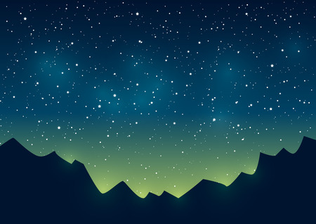 aurora borealis: Mountains silhouettes on starry sky background Illustration