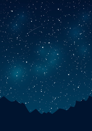 Mountains silhouettes on starry sky background Illustration