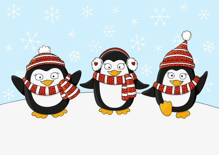 warm clothing: Cute penguins on snow background