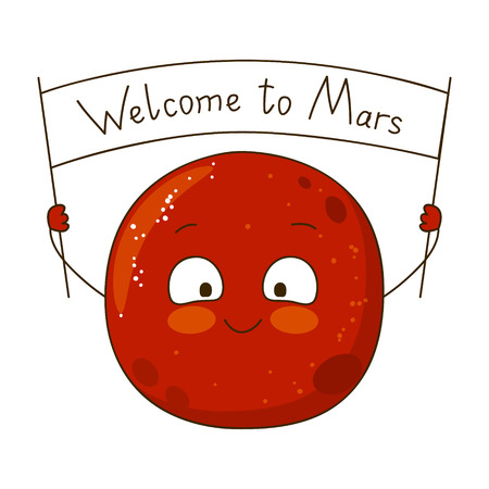 science text: Cartoon Mars character isolated on white Illustration