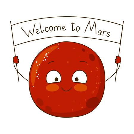 caras graciosas: Personaje de dibujos animados de Marte aislado en blanco Vectores
