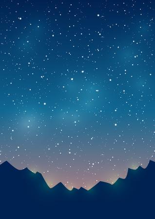 星空の背景に山々 のシルエット