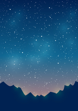 Mountains silhouettes on starry sky background Vettoriali