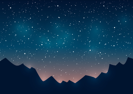 nighttime: Mountains silhouettes on starry sky background Illustration