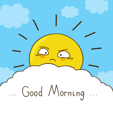 the sun: Tired sun wishes you good morning Illustration