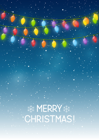 string: Christmas background with light bulbs Illustration