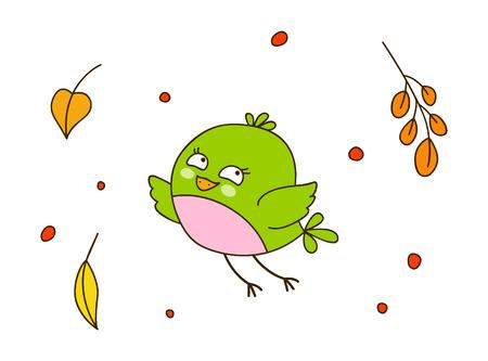 green cute: Cute cartoon bird with autumn leaves