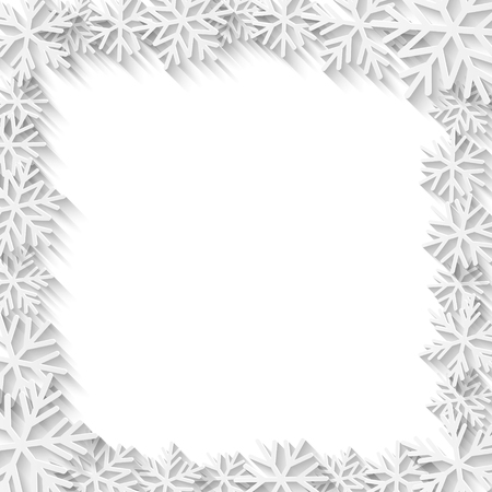cut paper: Christmas background with white paper snowflakes