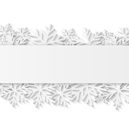 Christmas background with white paper snowflakes