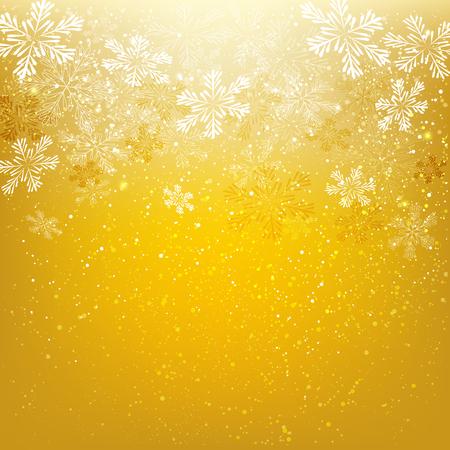 copo de nieve: Copos de nieve brillantes en fondo de oro