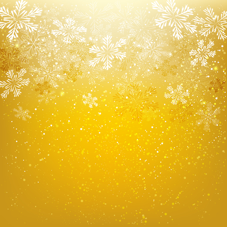 december background: Shiny snowflakes on golden background