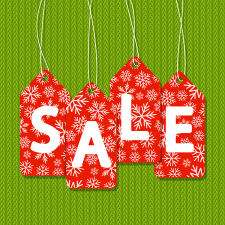 knitted: Sale message on knitted background