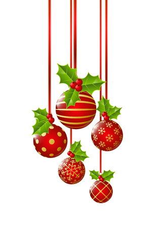 Christmas balls isolated on white Illustration