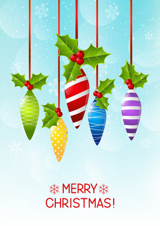 christmas decorations: Christmas decorations on sky background