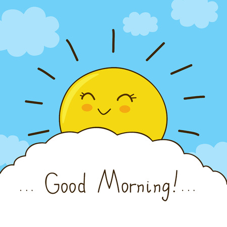 sky sun: Happy sun wishes you good morning Illustration