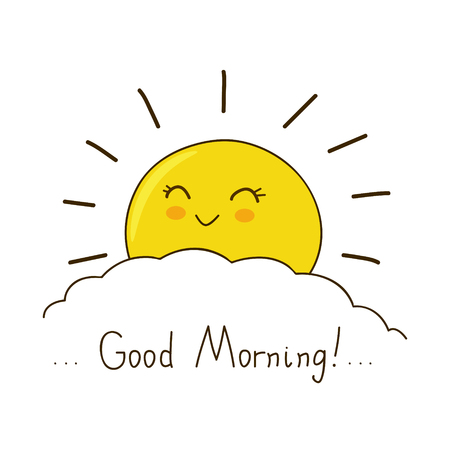Happy sun wishes you good morning Illustration