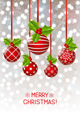 motivos navideños: Adornos de Navidad sobre fondo brillante