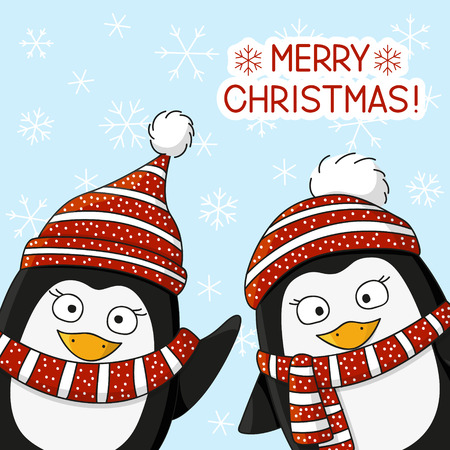 snow background: Christmas penguin on snow background Illustration