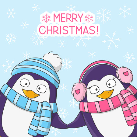 happy couple: Christmas penguins on snow background