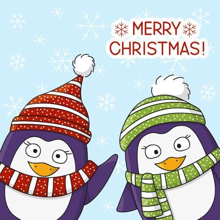 pinguinos navidenos: Pingüinos de Navidad en el fondo de la nieve