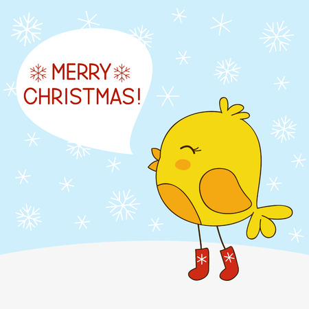 christmas cute: Cute cartoon bird on snow background