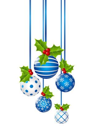 Kerst ballen geïsoleerd op wit Stock Illustratie