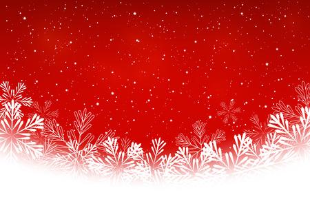 赤の背景にクリスマス雪