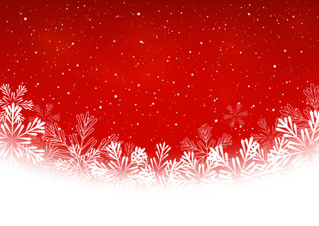 snow: Christmas snowflakes on red background Illustration