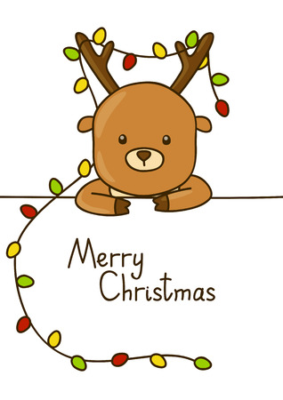 christmas cute: Cute cartoon deer  with Christmas message Illustration