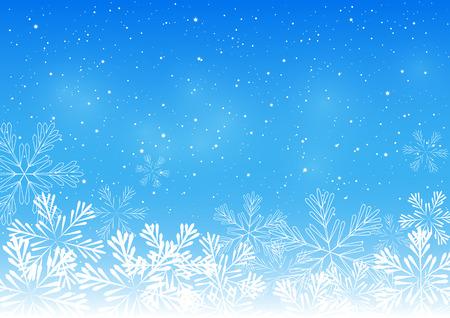 blue border: Christmas snowflakes on blue background