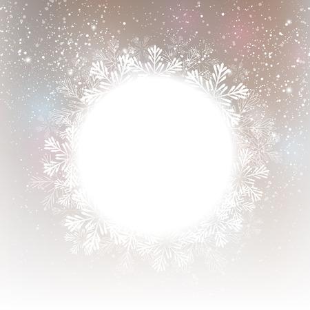 white  background: Christmas snowflakes round frame for Your design