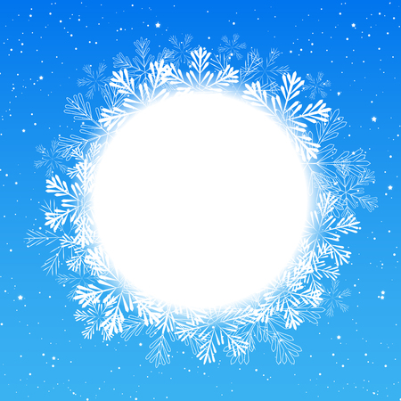 winter holiday: Christmas snowflakes round frame for Your design