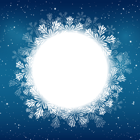 circle design: Christmas snowflakes round frame for Your design