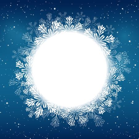 flocon de neige: No�l flocons de neige cadre rond pour votre conception Illustration