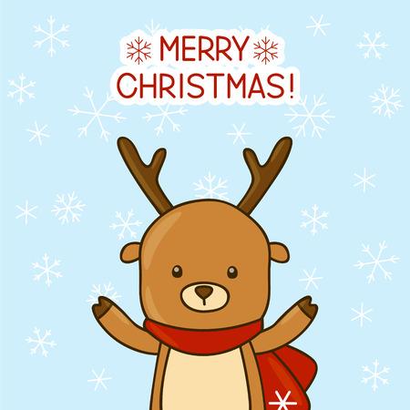 cute christmas: Christmas card with cartoon deer