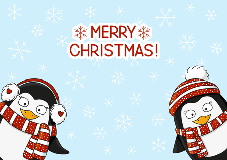 christmas cute: Cute cartoon penguins on snow background