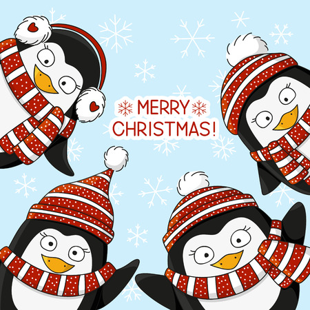 penguin cartoon: Cute penguins on snow background
