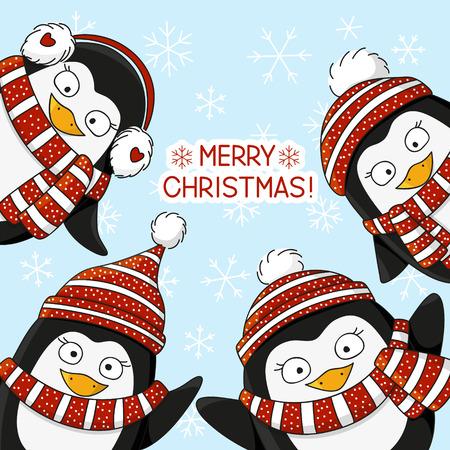 pinguino caricatura: Ping�inos lindos en la nieve de fondo