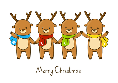 christmas cute: Set of cute Christmas deers