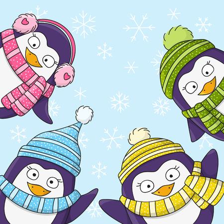 pinguinos navidenos: Tarjeta de Navidad con ping�inos de la historieta