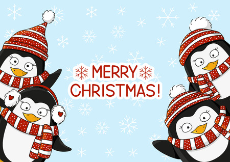 Christmas card with cartoon penguins Illustration