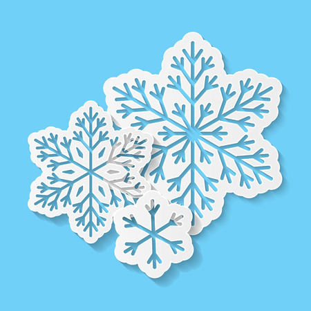 art vector: Paper snowflakes on blue background