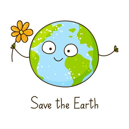 Cute cartoon Earth isolated on white