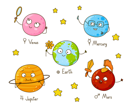 character cartoon: Set of cute cartoon planets Illustration